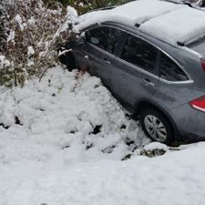 car in ditch